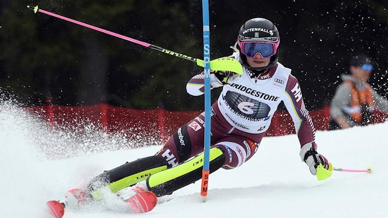Frida Hansdotter under ett slalomåk.