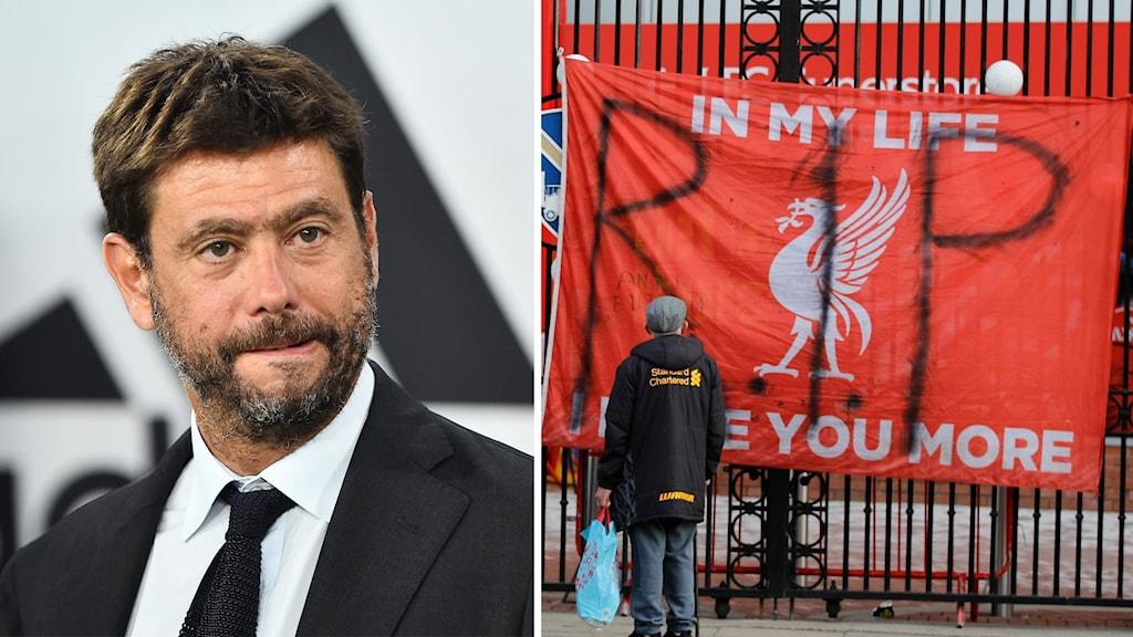 Andrea Agnelli och en Liverpool-supporter.