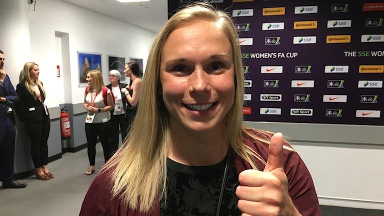 Jonna Andersson, Chelsea Ladies. Foto: Claes Aronsson/Sveriges Radio