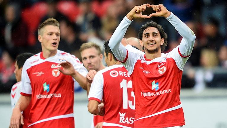 Kalmars Mahmoud Eid jublar efter sitt 4-1 mål.