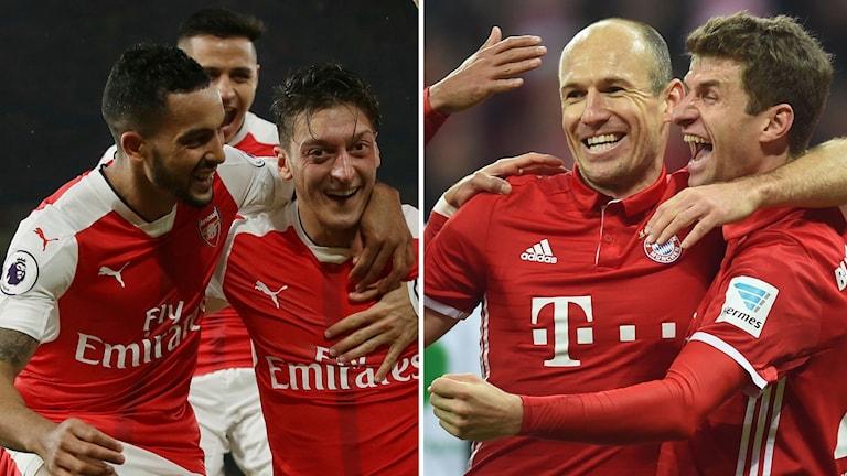 Arsenal mot Bayern München i Champions Leagues åttondelsfinal.