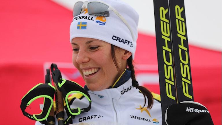 Charlotte Kalla vann damernas 5 km fri stil i Skandinaviska cupen i norska Lillehammer på lördagen.