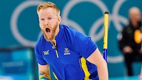 Sveriges Niklas Edin under curlingfinalen under vinter-OS i Pyeongchang. Arkivbild.