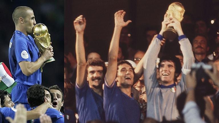 Italienska VM-guld i fotboll. Foto: TT, collage SR