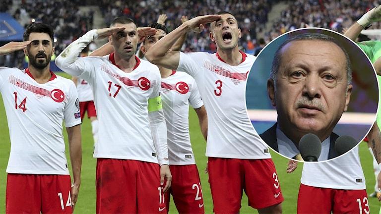 Turkiska spelare gör honnör. President Erdogan inklippt.