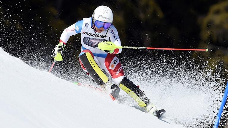 Wendy Holdener, Schweiz, vann VM-guld i alpin kombination 2017.