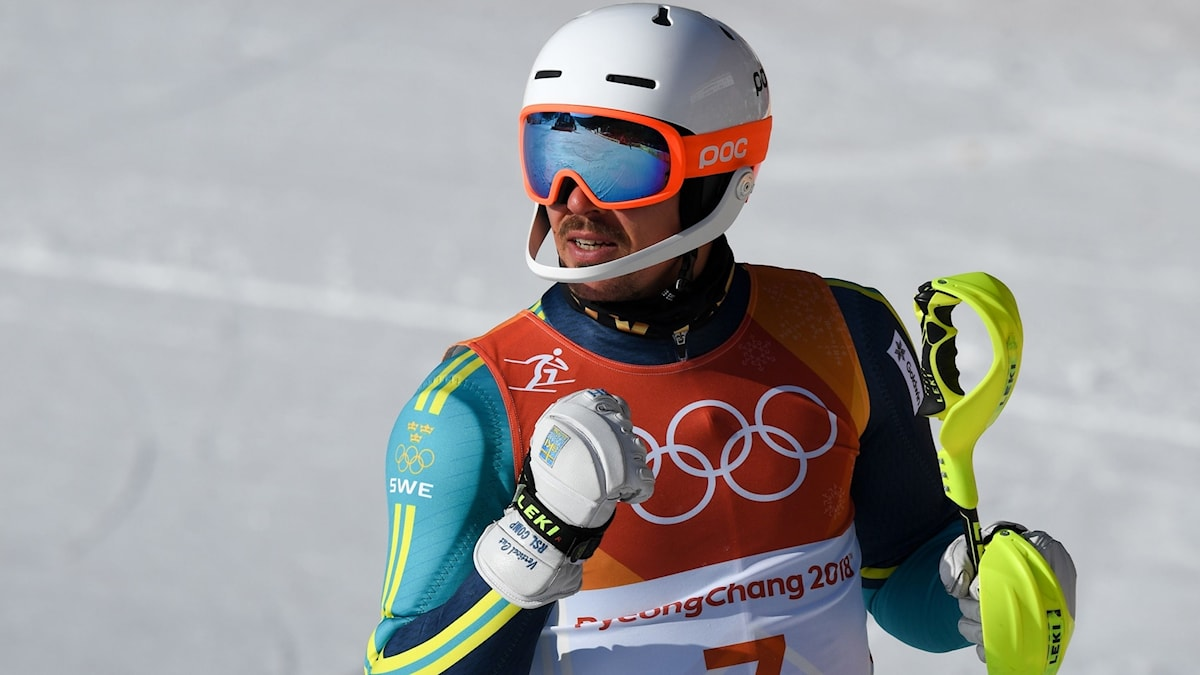 André Myhrer claimed gold in the slalom in his last ever Olympics