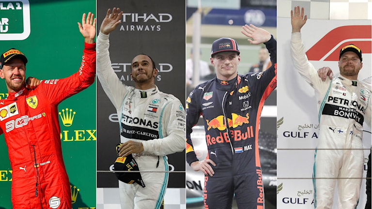 Sebastian Vettel, Lewis Hamilton, Max Verstappen, Valtteri Bottas. Foto: Luca Bruno, Hassan Ammar, Zsolt Czegledi/TT