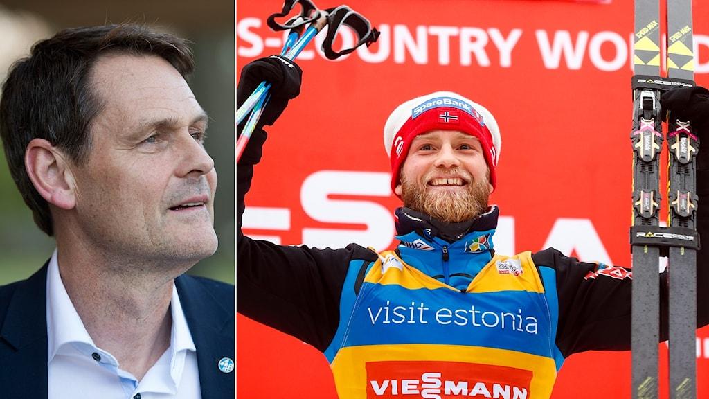 SOK:s Peter Reinebo och norske skidåkaren Martin Johnsrud Sundby.