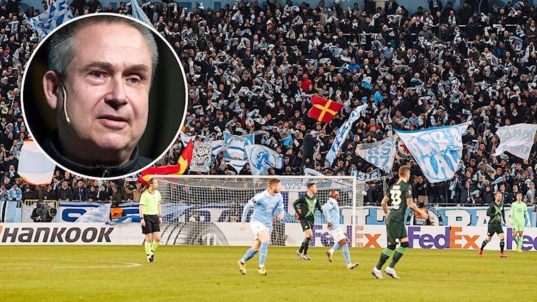 Svensk Elitfotbolls Mats Enquist / Malmö FF-match.