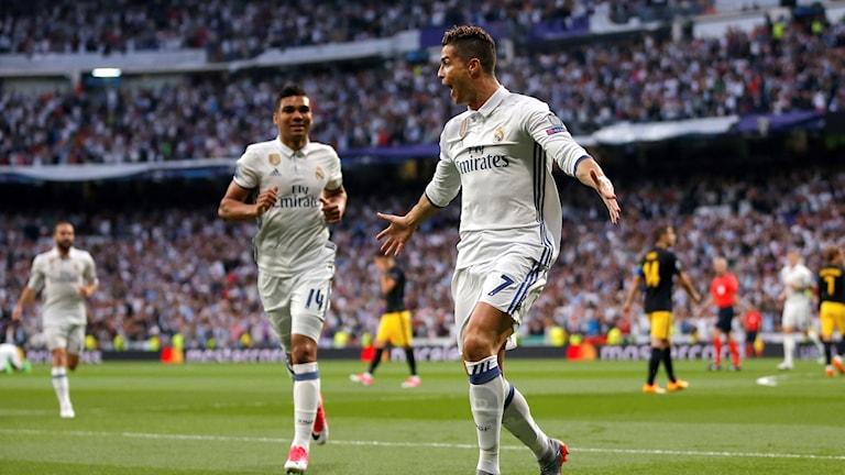 Cristiano Ronaldo firar 1-0-målet mot Atletico Madrid i den första Champions League-semifinalen 2017.
