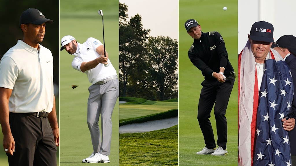 Collage inför US Open i golf. Foto: TT, collage SR