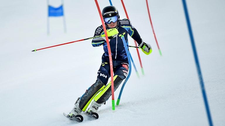 VEMDALEN 2019-02-06 Svenska alpina slalomåkaren André Myhrer under träning och förberedelser i Björnrike inför alpina VM i Åre. Foto: Pontus Lundahl / TT