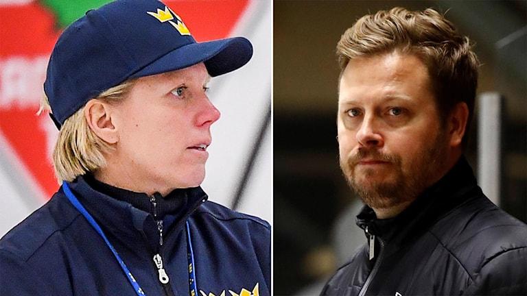 Sveriges förbundskapten Ylva Martinsen och Luleåtränaren Fredrik Glader.