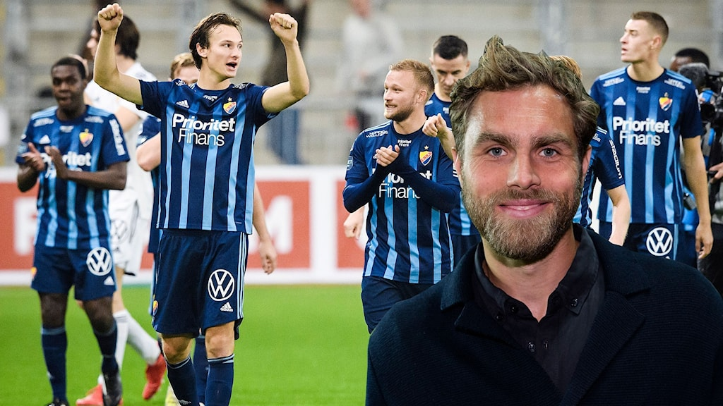 STOCKHOLM 20210922 Djurgårdens Hjalmar Ekdal jublar efter onsdagens fotbollsmatch i allsvenskan mellan Djurgården och Degerfors på Tele2 Arena. Foto: Erik Simander / TT. Johan Elmander. Foto: SR