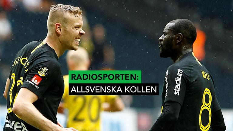 AIK:s tvåmålsskytt Kolbeinn Sigthorsson jublar med Kofi Adu.