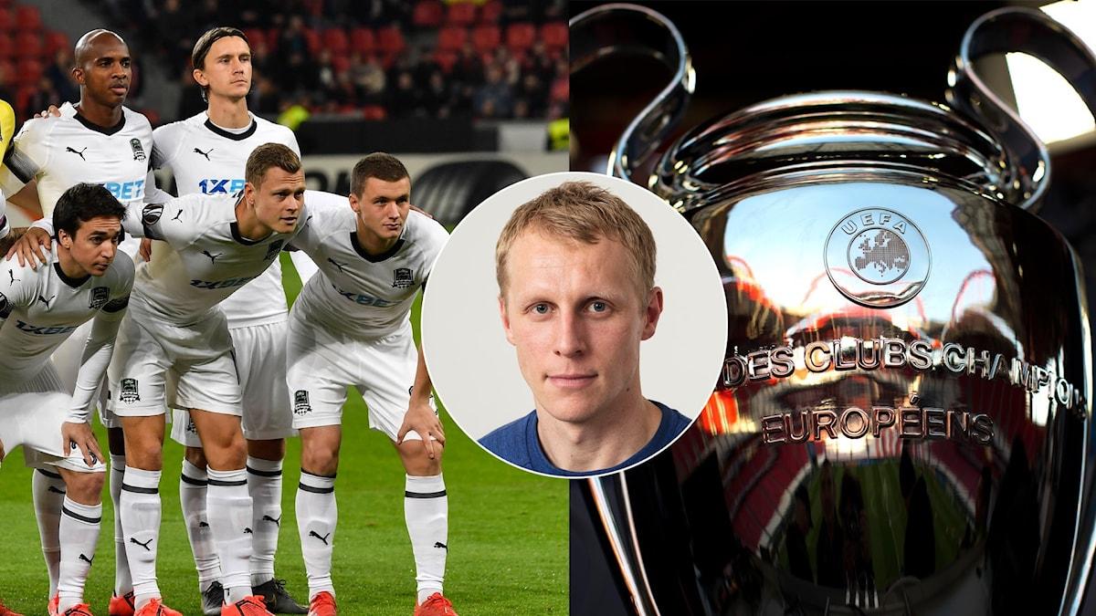 Krasnodar, Richard Henriksson och Champions League-bucklan i ett bildmontage.