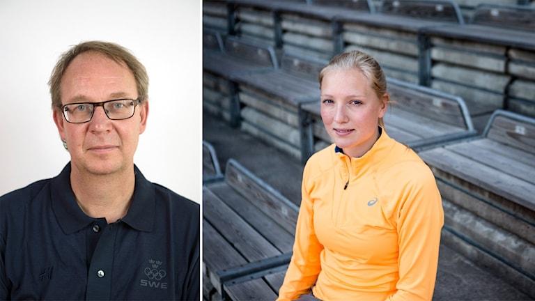 Stefan Olsson, generalsekreterare på Svenska friidrottsförbundet, och Moa Hjelmer.
