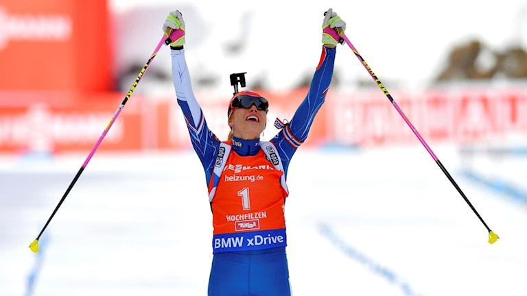 Darja Domratjeva vann sprinten i Hochfilzen.