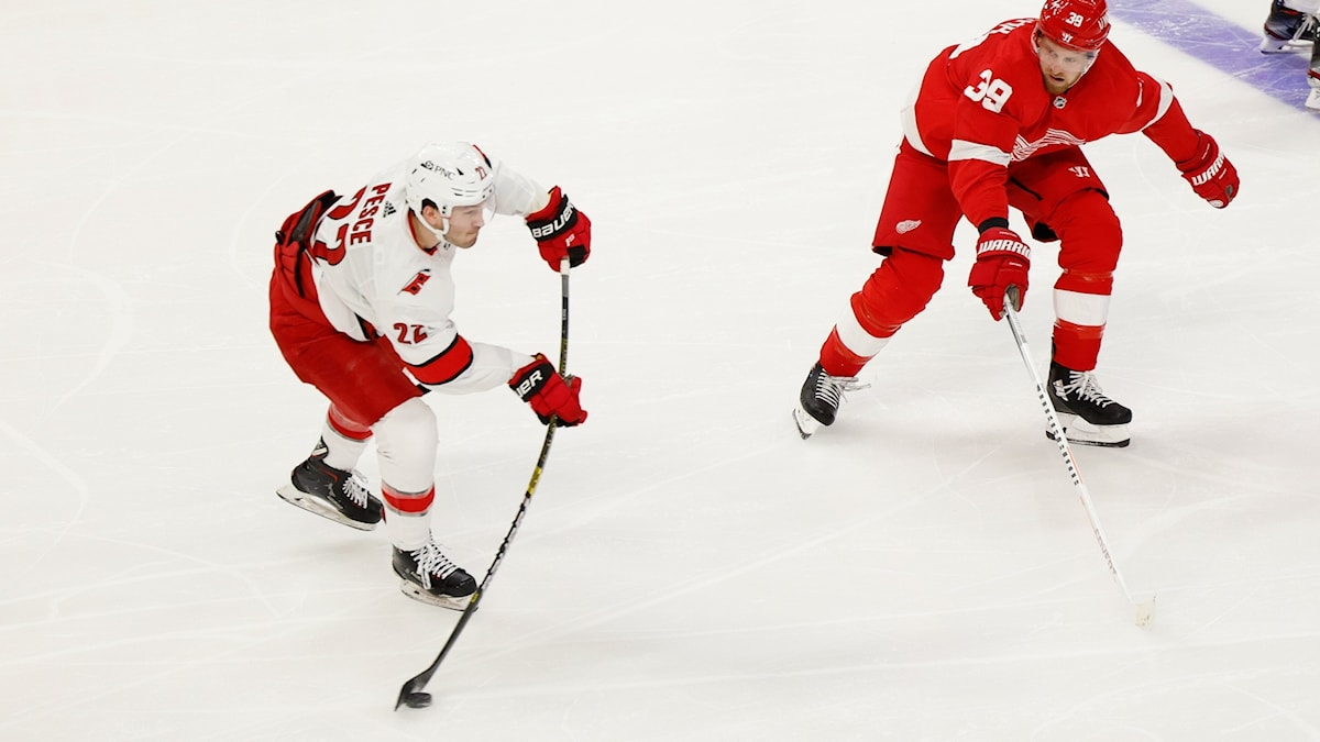 Match mellan Detroit och Carolina i NHL.