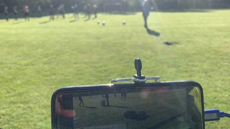 Mobiltelefon fotbollsplan
