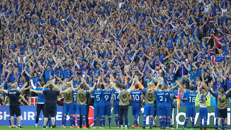 Island tackar sina supportrar.