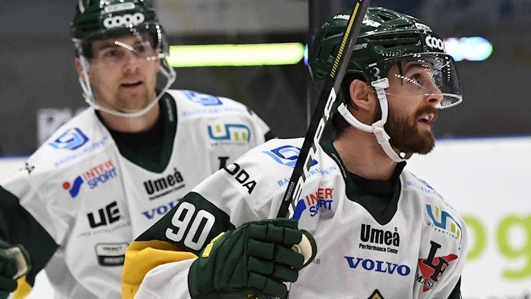 Björklövens Alex Hutchings nöjd efter ett mål tidigare under säsongen.