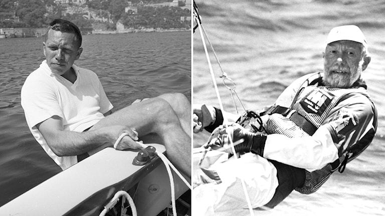 Vänster: Paul Elvström under OS 1960. Höger: Under OS 1984.