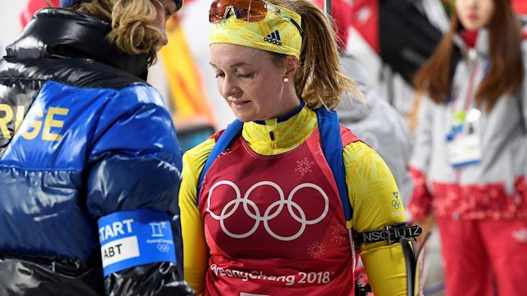 OS 2018 Mona Brorsson efter den första sträckan i mixedstafetten. ANDERS WIKLUND/TT