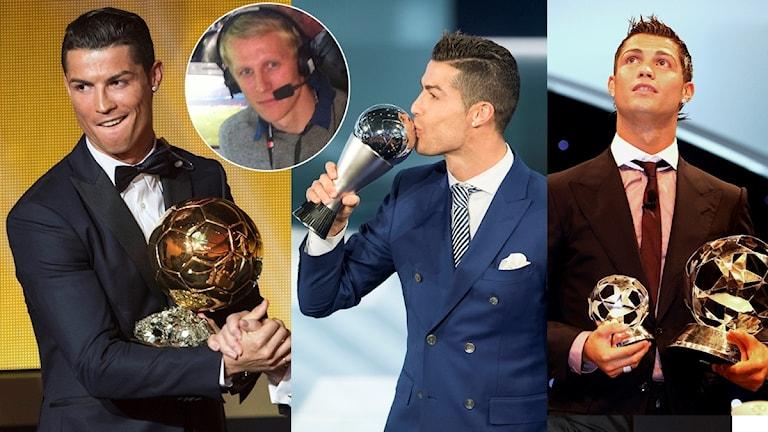 Cristiano Ronaldo med priser collage. Foto: TT, colage SR.