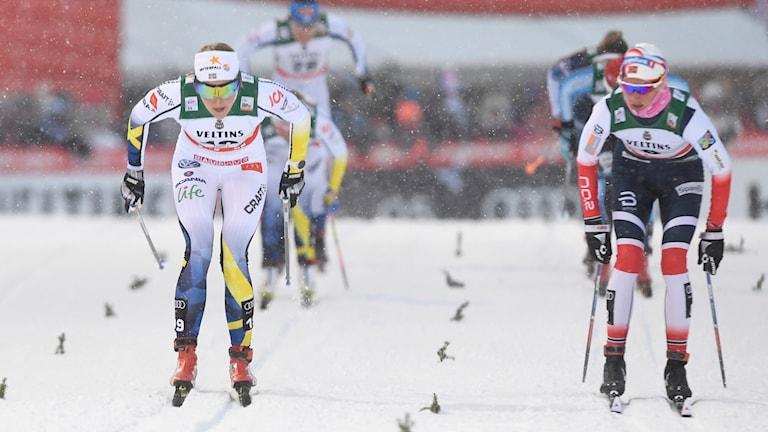 Stina Nilsson tävlar i fristilssprinten i Davos.