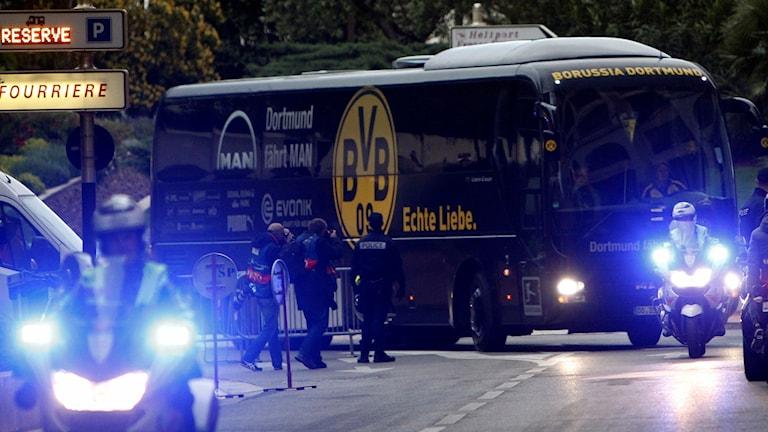 Dortmunds spelarbuss. Foto: TT