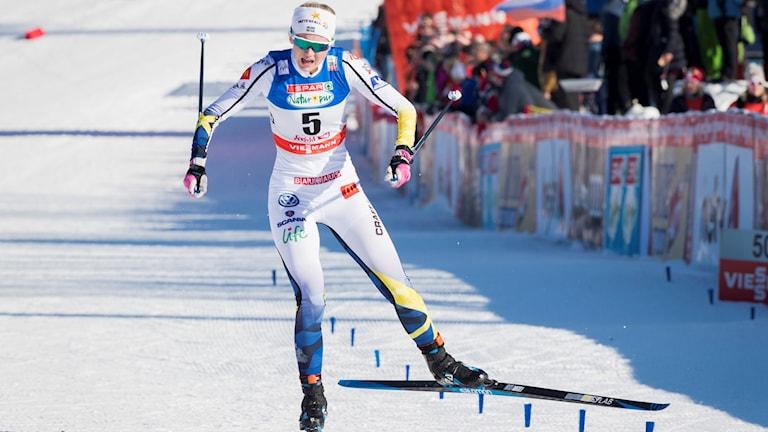 Maja Dahlqvist vann dagens sprintstafett i Lahtis.
