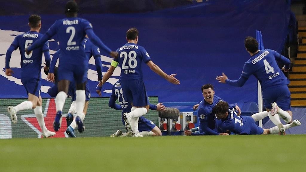 Chelsea jublar efter mål mot Real Madrid