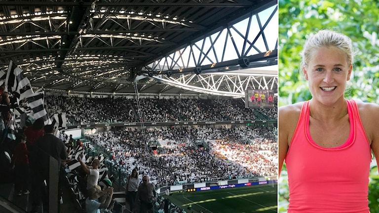 Publiksuccé Juventus damer och Lisa Ek. Foto: TT, collage SR