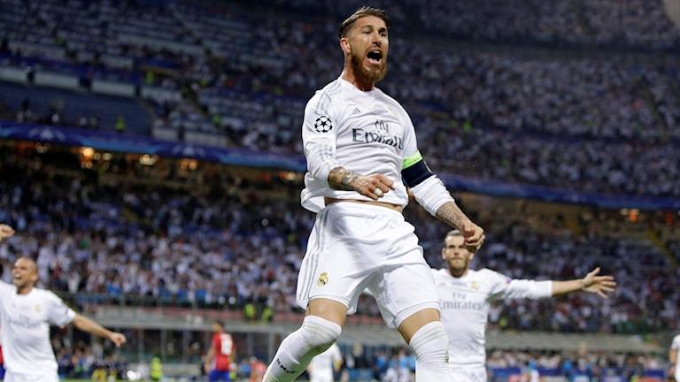 29169528 Real Madrids Sergio Ramos firar mål i CL-finalen. Foto: Andrew Medichini/AP Photo