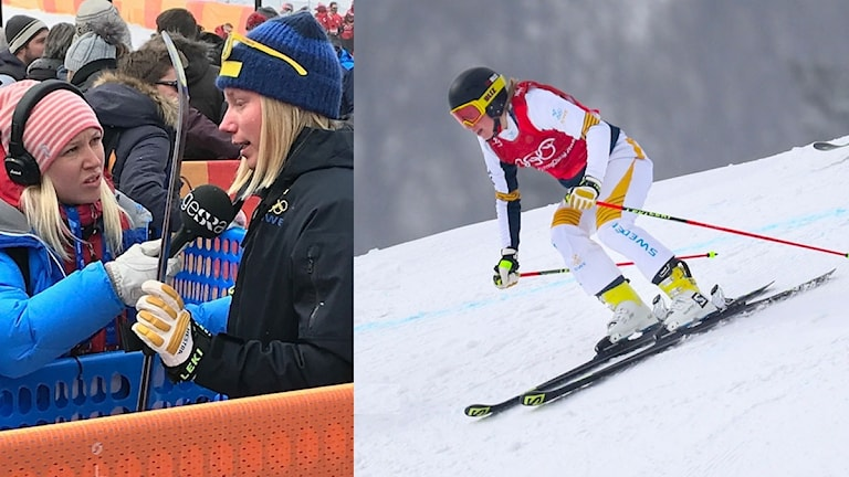 Collage Sandra Näslund OS 2018. Foto: SR och TT