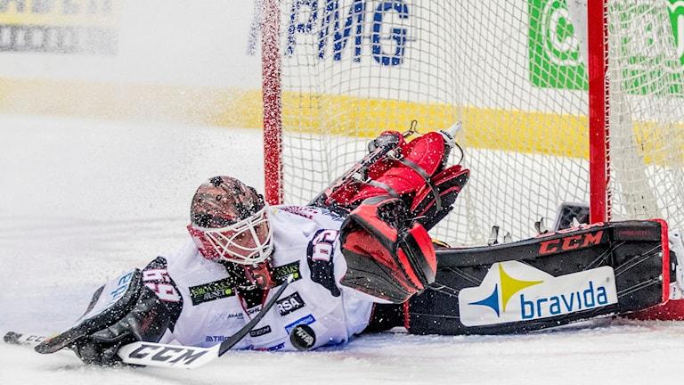 Oscar Alsenfelt räddar en puck mot Frölunda