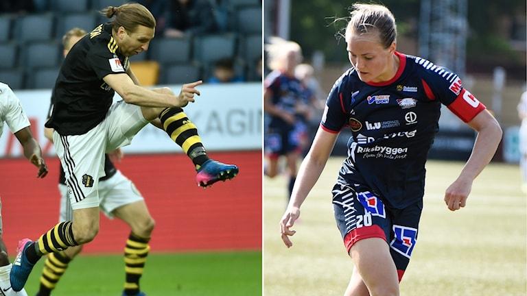 Delad bild på en AIK-spelare och en Linköpings-spelare.