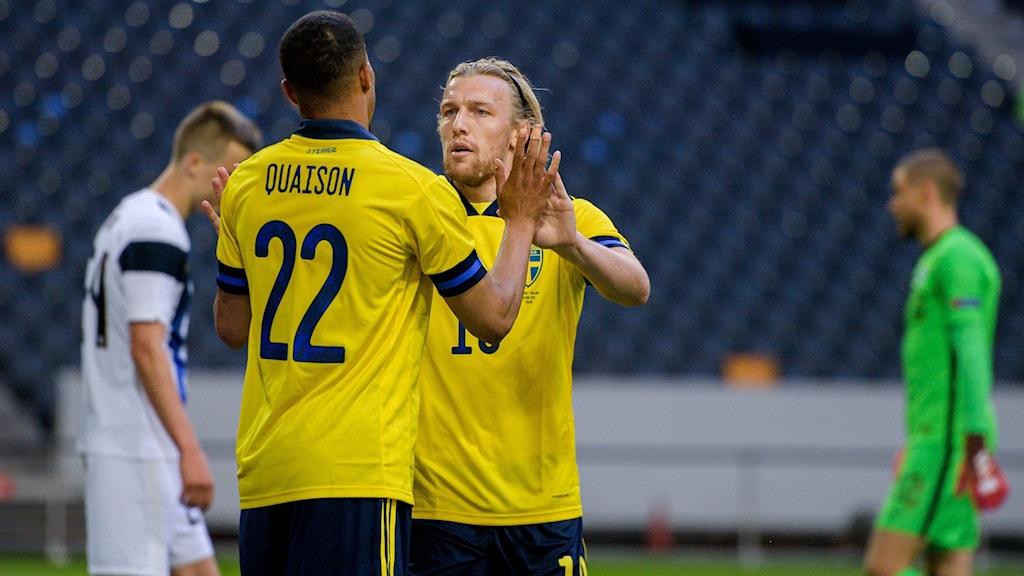 Svenska fotbollslandslaget mot Finland.
