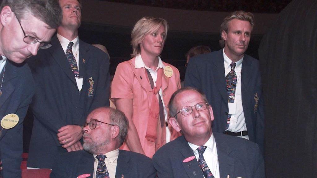 LAUSANNE 970905 Stockholms OS-general Olof Stenhammar och övriga gänget deppar efter att Aten fick OS år 2004 Foto: JONAS EKSTRÖMER/TT