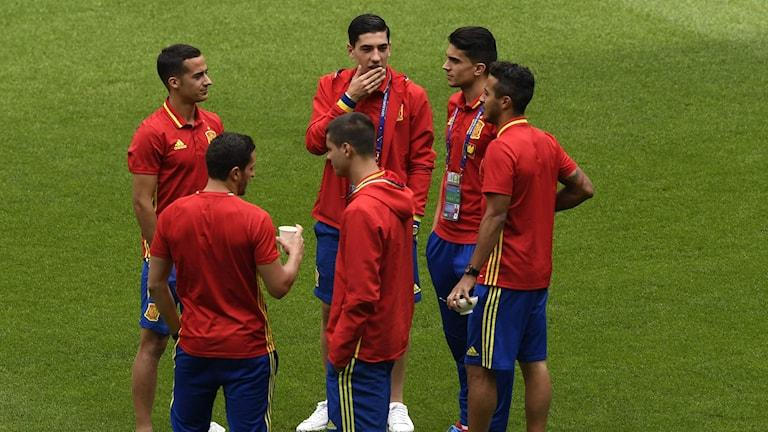 Spaniens spelare är laddade.