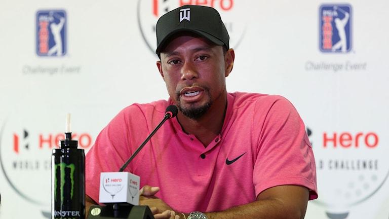 Tiger Woods på presskonferens inför comebacken.