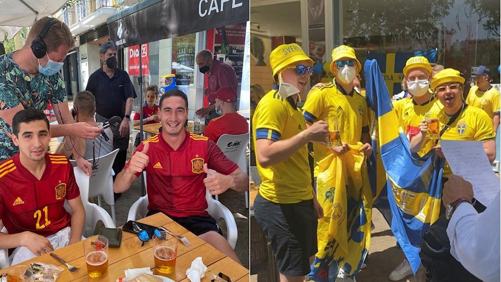 Spanska och svenska supportrar på plats i Sevilla