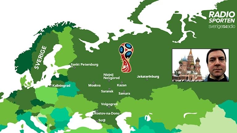Grafik VM-städer i Ryssland 2018