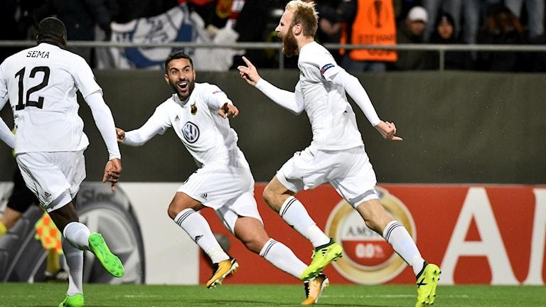 Östersund firar 2-1 mot Bilbao.