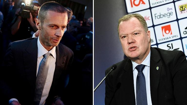 Uefas nya ordförande Aleksander Ceferin (t.v.) och Svff:s ordförande Karl-Erik Nilsson.