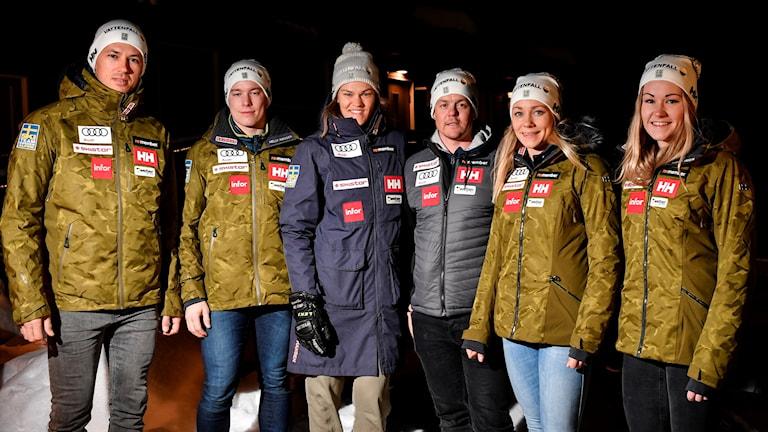 Sveriges lag i lagtävling under alpina VM i Åre.