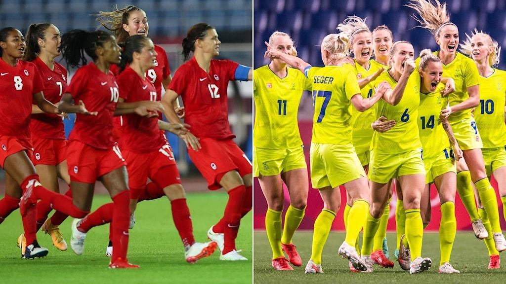 Kanadas och Sveriges landslag i fotboll.