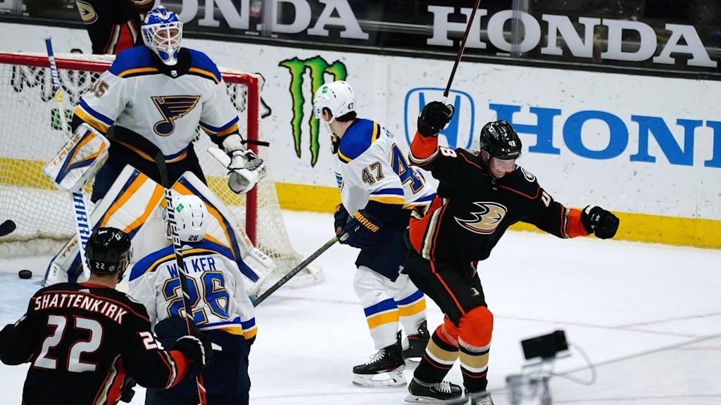 Isac Lundeström gjorde sitt första hattrick i NHL inatt.